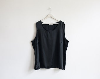 on sale - black oversized silky tank top / loose sleeveless blouse / size XXL