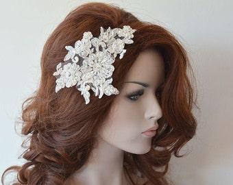 Ivory  Lace Wedding Headband, Silver Silvery Lace Bridal Hair Comb, Wedding Headband, Bridal Hair Accessory, Wedding Hair Accessories