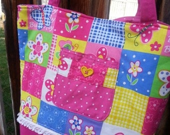 Pink Butterfly Diaper Bag,  Floral Tote Bag