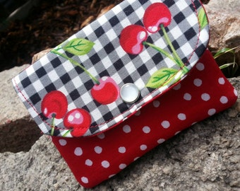 Cherry Business Card Holder, Small Gingham Wallet