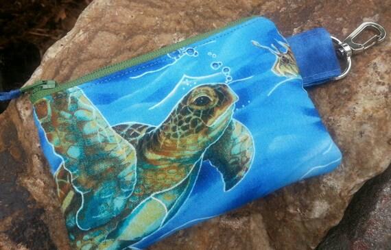 Sea Turtle  Coin Purse, Boys  Personalized Zipper Wallet