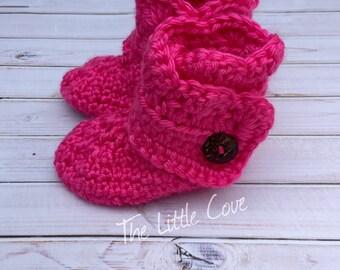 Crochet Ugg Inspired Baby Booties, Baby Girl Booties, Crocheted Baby Booties, Wrap Around Booties