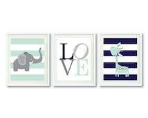 Safari Animals Art Print Set-LOVE-Three 8x10-11x14-Mint-Navy Blue-Grey-Nursery-Kids Room-Home Decor -Giraffe-Elephant-Baby-Wall Art-Boy-Girl