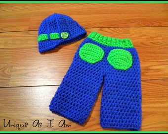 Crocheted Baby Pants and Newsboy Hat/Photo Prop
