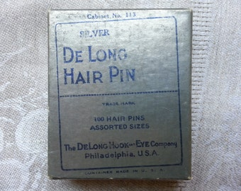 Vintage Silver Hair Bobby Pins With Box