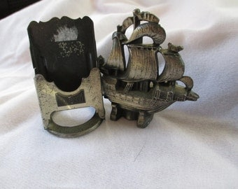 Antique Galleon Ship holder from 1928 Junior Prom - Unusual and what is it? Estate Find! - A Whatsit!- Match Holder maybe!