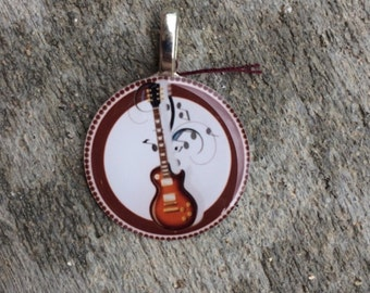 Sale! Electric Guitar Music Brown Background Pendant Necklace