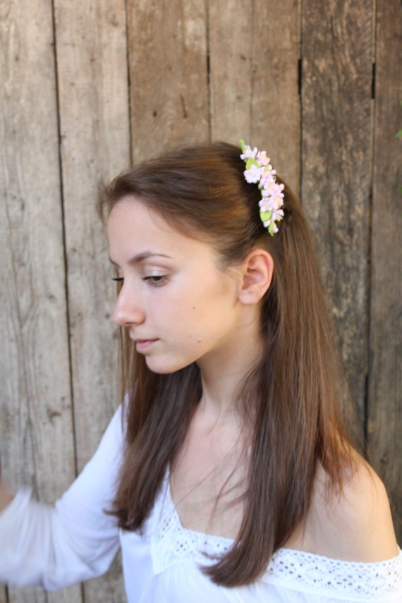 Roseate cherry blossom Hair comb polymer clay flowers .flower hair bride.