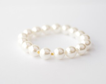 White Pearl Bracelet with gold spacers