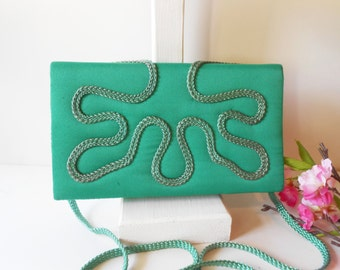 Green Evening Bag, Vintage Green Bag , Green Clutch Bag, Embroidery Clutch,  Evening Purse, Holiday Purse, Green Handbag EB-0587