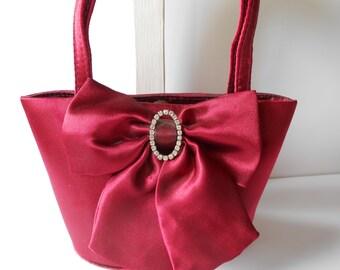 Red Evening Bag Red Handbag with Rhinestone Trim Crimson Red Purse EB-0601
