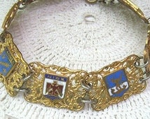 Sale...Vintage Souvenir Bracelet...FRANCE....Enamel Shields Panels...Gold Filigree...Circa 1950s 1960s....Collectible Souvenir Bracelet