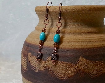 Boho Chic Gypsy Inspired Earrings - Turquoise and Copper Earrings - Antique Copper Earrings - Bohemian Jewelry