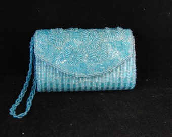 Vintage small beaded blue purse