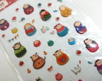 Crazy Sale : Russia Doll Matryoshka Sticker  - 1 Sheet