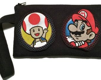 Mario Bag • Upcycled Tshirt Purse • Super Mario Bros. Clutch • Mario Bros Gift