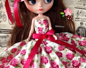SALE* Blythe Doll Pullip Dal Dress Cloth Pullip Dal -Vintage Black Floral Evening Dress set