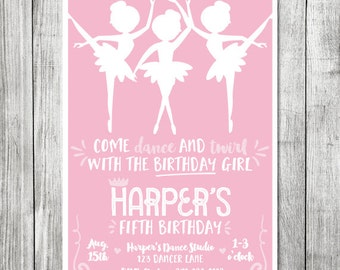 Come Dance and Twirl with the Birthday Girl Invite - 5x7 JPG