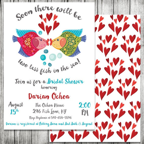 Fish Themed Baby Shower Invitations: Two Less Fish In The Sea Bridal Shower Invite Engagement