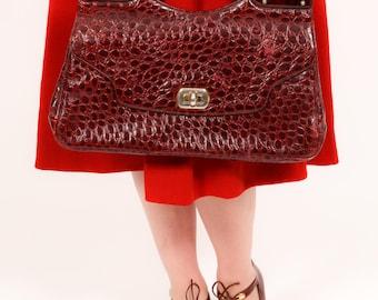 Stunning oversized frog skin and luctite handbag red Bullfrog  & Lucite clutch bag 40s 50s 60s