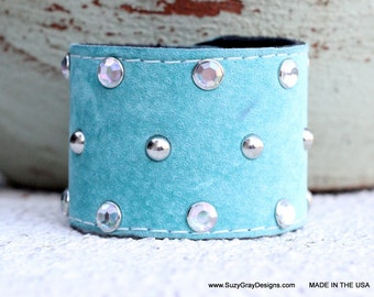 Light Blue Suede Leather Cuff with Studs and Crystals - Studded Blue Suede Leather Cuff with Crystals - Light Blue Leather Cuff