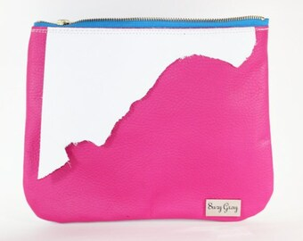 Hot Pink Leather Clutch - Hot Pink Leather Handbag - Pink and White Leather Clutch - Zipper Clutch - Pink Leather Cosmetic Bag - Free Tassel