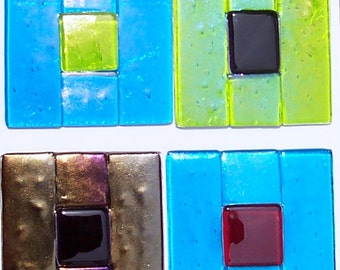 Stained Glass Window Corners, Window Treatment, Colorful Fused Glass Squares, Home Decor, Unique Windows