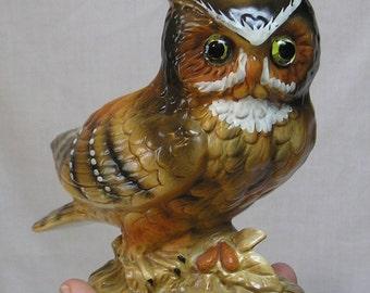 Vintage Lefton Horned OWL Planter H4470  / Figural Bird Planter / Big Brown Owl Figurine