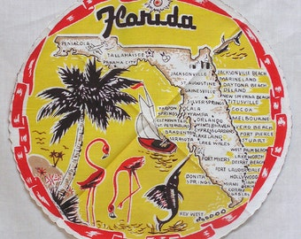 Very Hard to Find ROUND Florida State Hankie Hanky with Map of State Flamingos Leaping Marlin Palm Trees Boating and a Red Ribbon Border
