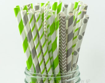 LIME GRAY Striped Spiraled Chevron Polka Dots Paper Straws Multipack with Free Printable DIY Flags (25 count)