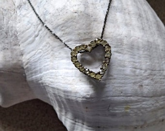 Vintage Silver Rhinestone Heart Necklace, 16 inches, girls heart choker, gift for her, ladies gift