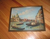 "THE GRAND CANAL Venice Print Framed In A Dark Goldtone Frame 11 3/4"" x 15"" Colors Are Vivid On The Print"