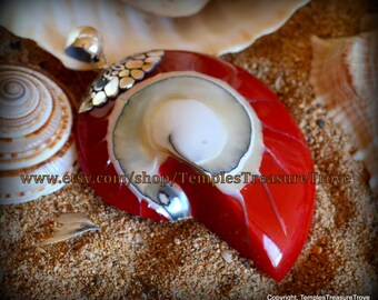 Natural Nautilus shell slice/ 925 Bali silver with bright red resin back fill focal bead pendant Sacred Geometry (item NSR-1)