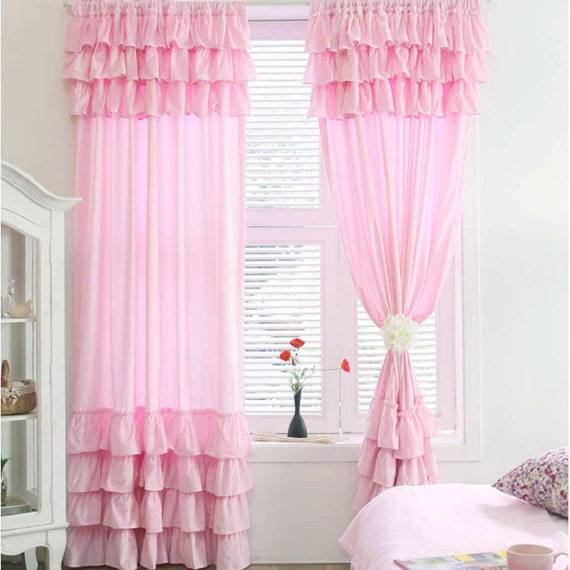 Pink Or White Ruffle Curtain Panel