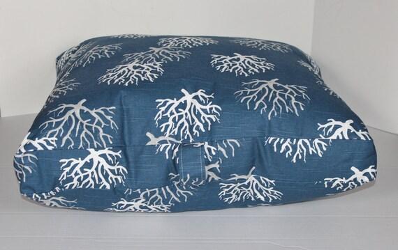 Nautical Floor Pillows : 30x30x4 Nautical Floor Pillow Cushion Pouf. Navy Blue and White Coral Pattern. Beach House Ready ...