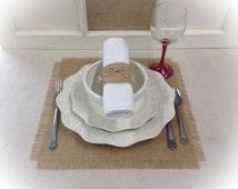 Square Burlap Placemat sets - Holiday decorating Home decor Wedding centerpiece squares Burlap Overlays Wedding decor
