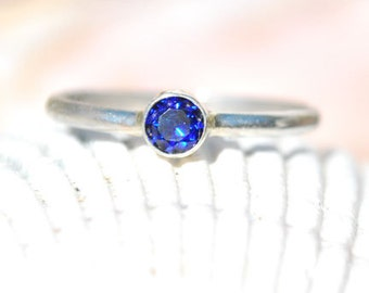 Sapphire Ring - Blue Sapphire Ring - Sterling Silver Ring - Birthstone Ring - September Birthstone - Size 7.25 Ring - Stacking Ring