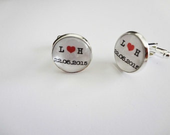 Personalised Wedding Groom Groomsmen Best Man Father of the Bride Silver Plated Cuff Links