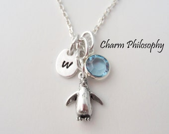 Penguin Necklace - 925 Sterling Silver Jewelry - Penguin Charm - Personalized Initial and Birthstone