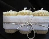 """Beeswax 2"""" Votive Candles Witch Crafted 3 Pack Honey Comb Texture Pure Hand Rolled Cotton Wick"""