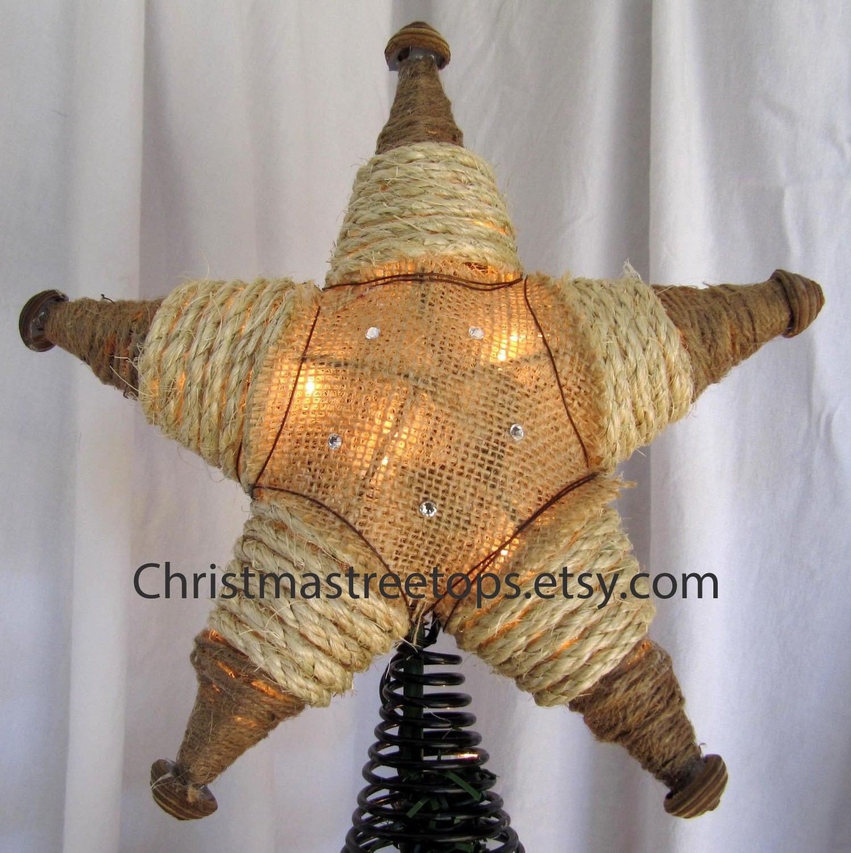 Lighted Burlap Christmas Decorations: Western Tree Topper Star Lighted Tree Star Burlap Christmas