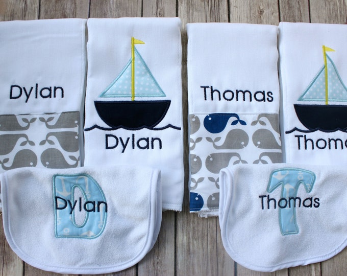 Personalized Twin Baby Gift, Monogrammed Twin Burp Cloth, Custom Twin Baby Gift, Nautical Twin Gift Set, Personalized Burp Cloth and Bib Set