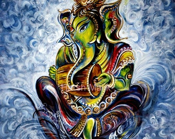 Musical, Ganesha, Crystals, Symbolic, Elephant God, Aum, Wisdom, Removal of Obstacles, Modern, Indian, Hindu, Myth, Painting, by Harsh Malik