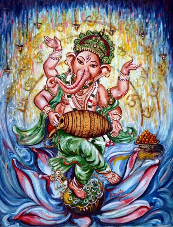 Calendar Art Of Hindu Gods : Dancing ganesha playing mridang original oil painting