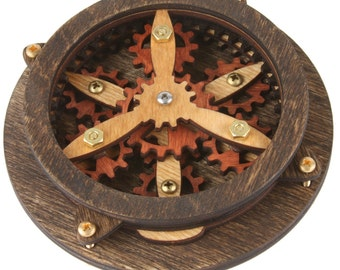 Wooden gear desk toy with gears that move