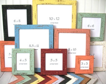 COLORFUL BEACHY FRAME 8x10 8.5x11 9x12 11x14 10x12 Nautical Photo Picture Frame Rustic Distressed Glass Backing Custom Shabby Cottage Decor