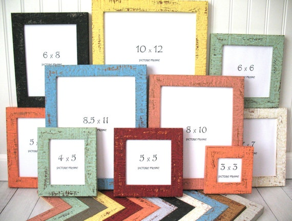 colorful beachy frame 8x10 85x11 9x12 11x14 10x12 nautical photo picture frame rustic distressed glass