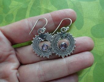 Amethyst  sterling silver circle gemstone  earrings
