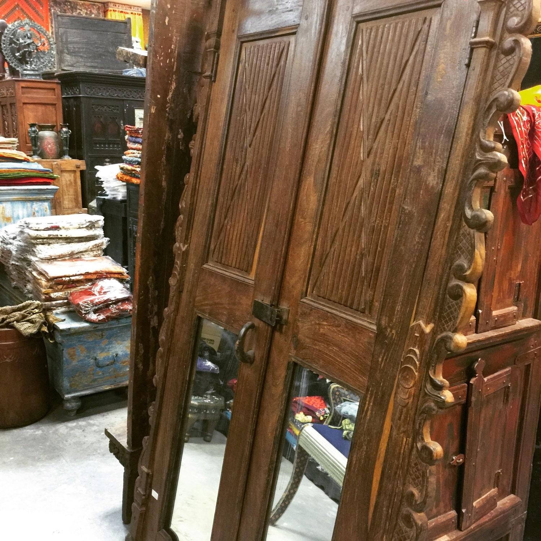 Antique Door Set Indian Mirror Carved Teak Wood Doors with ...