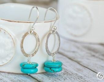 SALE - Teal earrings  Boho Turquoise Earrings, Sterling Earrings,  Chic Earrings,Gift for her, Dangle Earrings, Disc Earrings